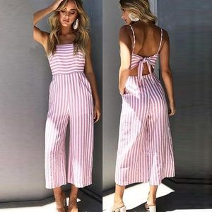 Striped Candy Pink White Tie Bow Back Jumpsuit